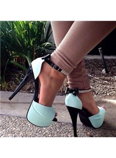 Sweet Lady Rhinestone Bowknot Ankle Strap Platform Sandals