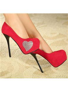 Sweet Platform Stiletto Heels with Rhinestone Loving Heart