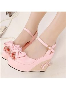 Sweet Princess Bowknot Ankle Strap PU Wedge Sandals