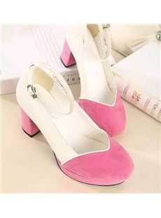 Sweet Retro Colorful Low Chunky Heels