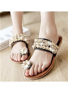 Sweet Rhinestone Beading Decoration Slippers
