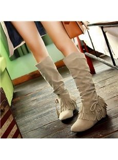 Sweet Tassel Solid Color Knee High Boots