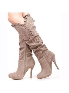 Taupe Faux Suede Ruffle Trim Knee High Heels Boots