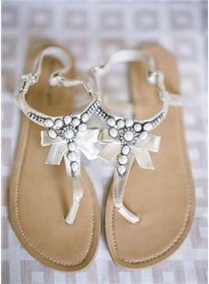 Terrific Coppy Leather Beading Flat Sandals