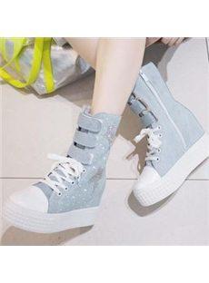Unique Buckle Lace-up Canvas Shoes with High Platform