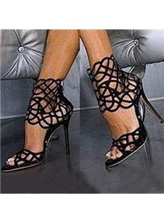 Unique Cut-Outs Black Stiletto Dress Sandals