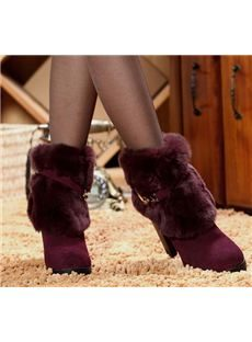 Warm & Comfortable Cony Hair Chunky Heels Ankle Boots