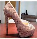 White Coppy Leather Rhinestone High Heel Shoes