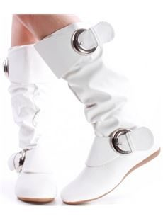 White Patent Leather Double Buckle Mid Calf Boots