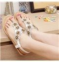 White Upper Flat Heels Sandals with Flower