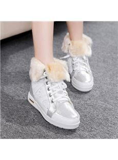 Winter Shining Lace-Up Comfortable Flat Heel Casual Shoes