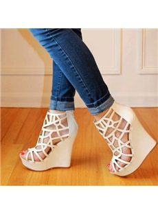 Wonderful Solid Color Cut-Outs Wedge Sandals
