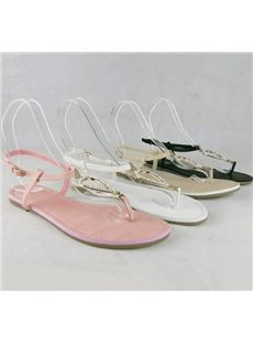 Wonderful Solid Color Rhinestone Heart Shape Decroration Flat Sandals