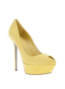 Yellow Suede Upper Heels Women Sandals