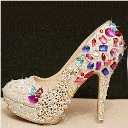 2014 New Arrival White PU Gorgeous Rhinestone Platform High Heel Shoes