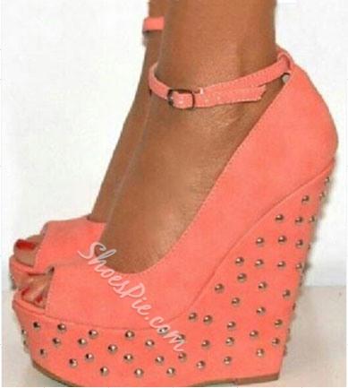 Amazing Orange Suede Rivets Peep Toe Wedge Sandals