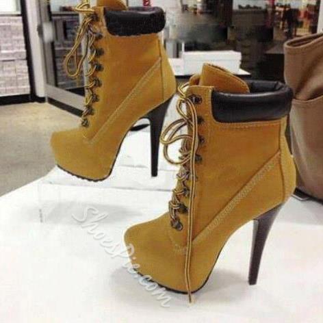 Amazing Platform Stiletto Heels Lace-up Ankle Boots