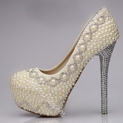 Amazing Sparkle Pearls Bridal Shoes