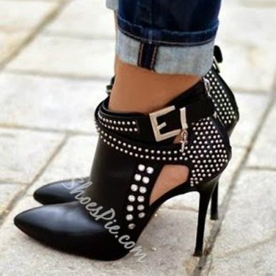 Attractive Black Rivets Decorated Ankle Boots