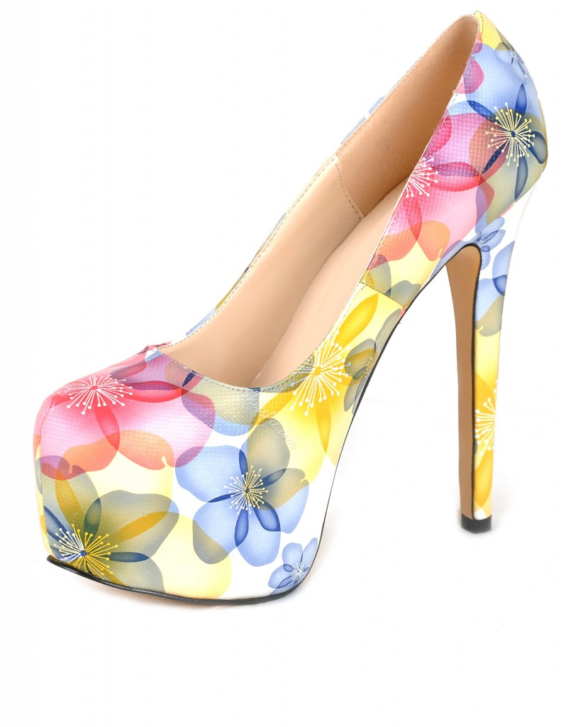 Attractive Flower Print Closed-toe Stiletto Heel Popular Prom Shoes