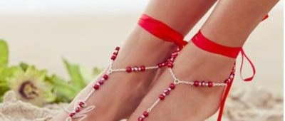 Attractive Handmade Beading Silk Ribbon Anklet