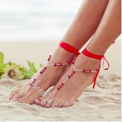Attractive Handmade Beading Silk Ribbon Anklet