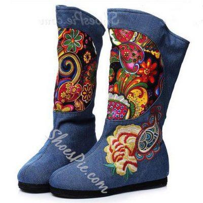 Beautiful Flower Design Denim Mid-Calf Boots