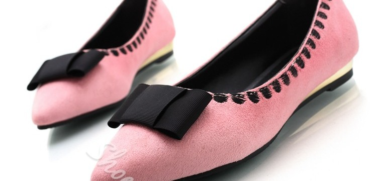 Bowknot Decorated Solid Color Pointed Toe Flats