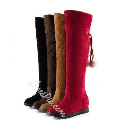 Cheap Women Flat Heel Plush Ball Elevator Boots