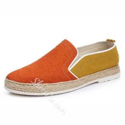 Color Block Patchwork Elastic Loafers