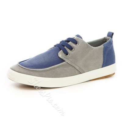 Color Block Patchwork Lace-Up Canvas Shoes