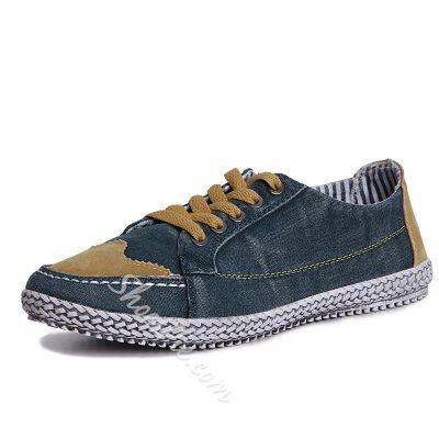 Color Block Patchwork Lace-Up Men's Shoes