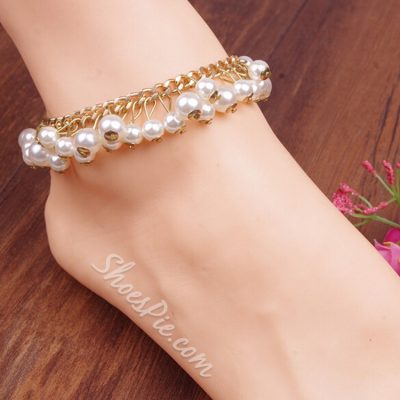 Color Block Pearl Decorated Anklet
