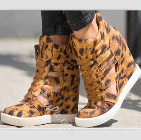 Comfortable Leopard Wedge Heel Sneakers