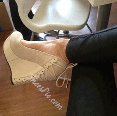 Comfortable Wedge Heel Apricot Suede High Heels