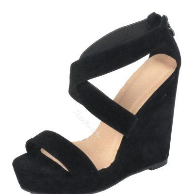 Concise Black Cross Strap Wedge Heel Sandals