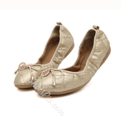 Concise Bowtie Metal Decorated Loafers