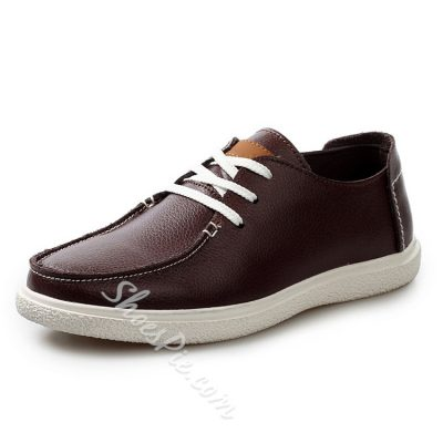 Concise Solid Color Lace-up Sneaker