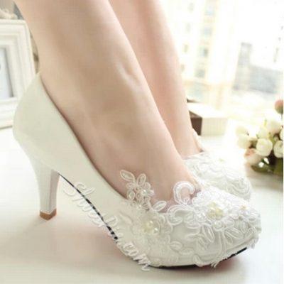 Elagant Lace Flower High Heel Bridal Shoes