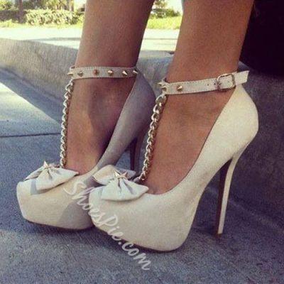 Elegant Bowknot Ankle Strap Platform Heels