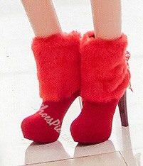 Elegant Fur Stiletto Heels Ankle Boots