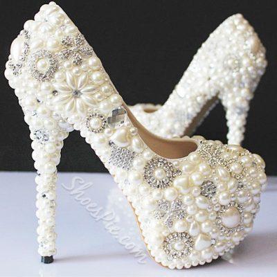 Elegant Rhinestone Pearls Bride Shoes