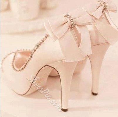 Elegant White Bowtie Rhinestone Decoration Platform High Heel Shoes