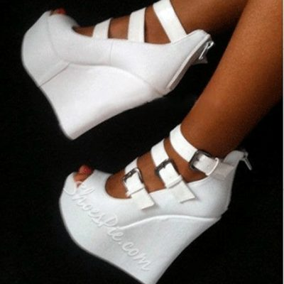 Elegant White Strap Buckle Wedge Sandals