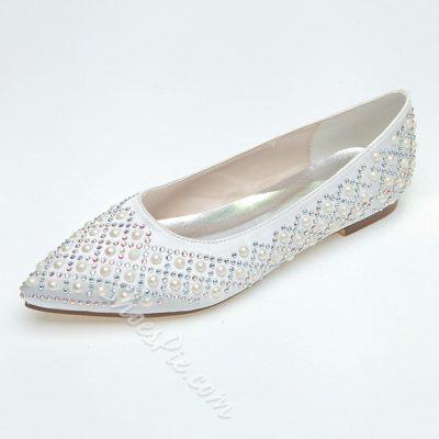 Exquisite Pearl Beak Closed-toe Satin Wedding Flats