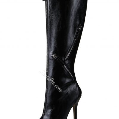 Fancy Zipper Decorated Pointed Toe Knee High Boots