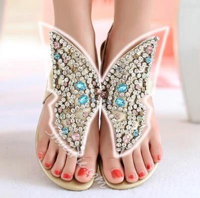Fantastic Rhinestone Genuine Leather Thong Flat Sandals