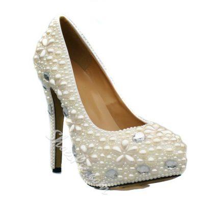 Fashion Platform Upper Closed Toe Bride Shoes