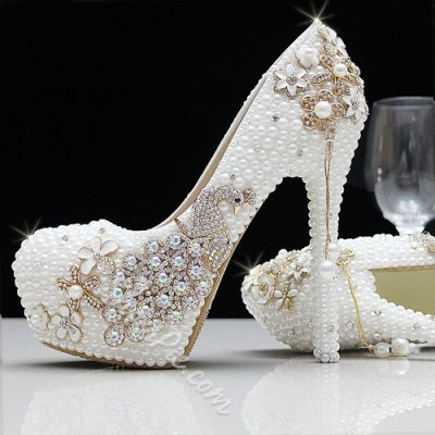 Fashion Round Toe Pearl High Heel Wedding Shoes