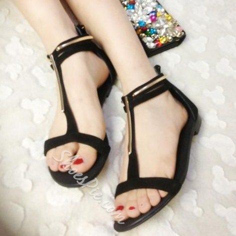 Fashionable Black PU Metal Ankle Strap Flat Heel Sandals